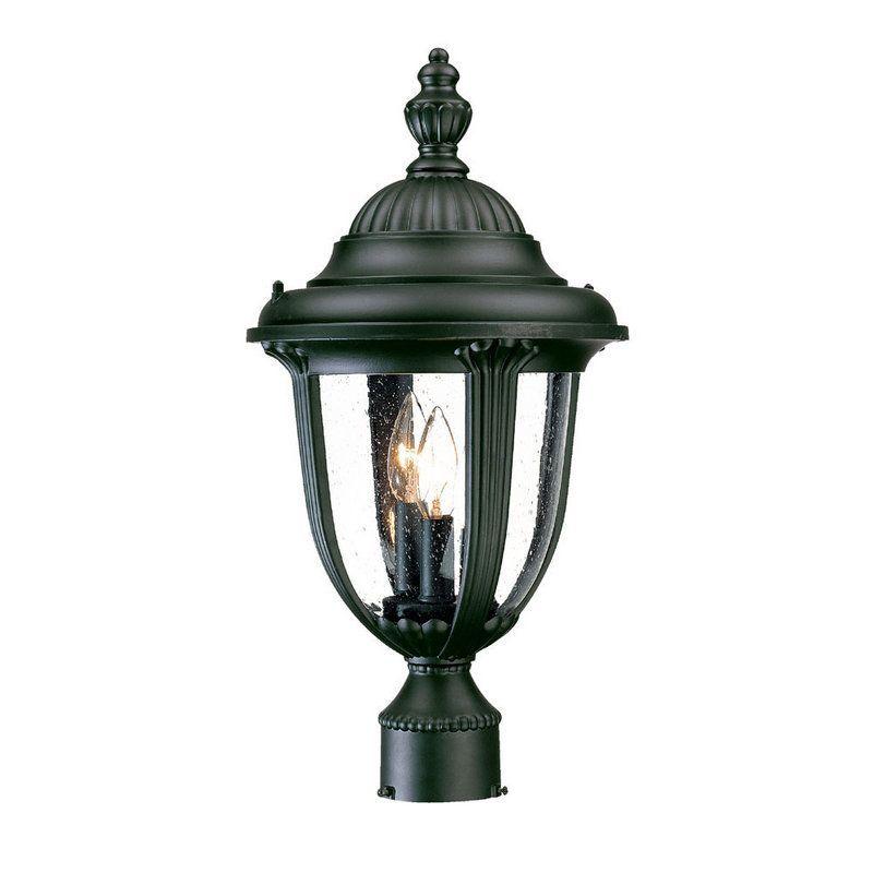 "Acclaim Lighting 3527 Monterey 3 Light 19"" Height Outdoor Post Light Matte Black / Clear Seeded Glass Outdoor Lighting Post Lights Post Lights"