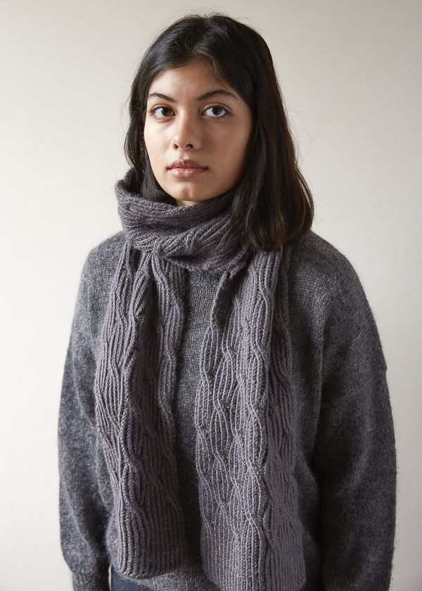 Reversible Rivulet Scarf in Trout Brown | Purl soho, Free ...