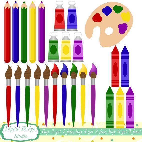art supplies clip art 26 clipart designs instant download for rh pinterest com