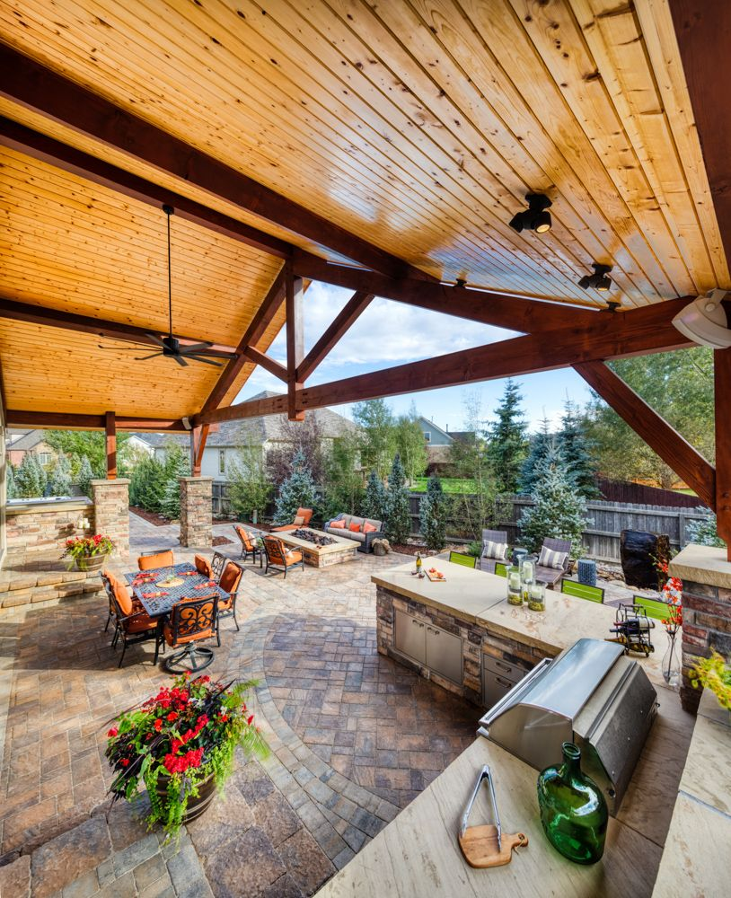 Custom outdoor kitchen and covered roof Patio, Outdoor