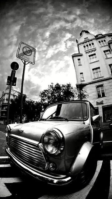 Vintage Mini Cooper Black White Wallpaper Mobile9 Black White