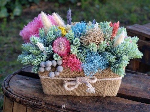 Centro de flores secas, mezcla de flores secas, artificiales y - flores secas