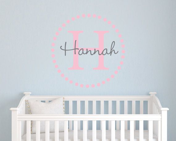 Dot Monogram Girls Initial And Name Monogram Custom Personalized - Custom name vinyl wall decals   how to remove
