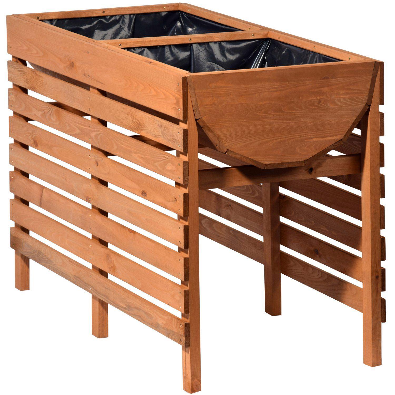 Dobar Doppel Hochbeet 71 Cm X 100 Cm X 50 Cm Kiefernholz Hochbeet Dachterrasse Und Hochbeet Holz