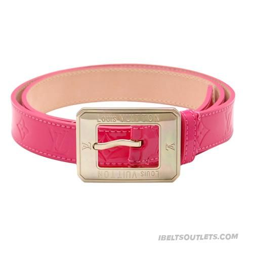 Stylish Louis Vuitton Womens Red Leather Shiny Golden Buckle Belt-001