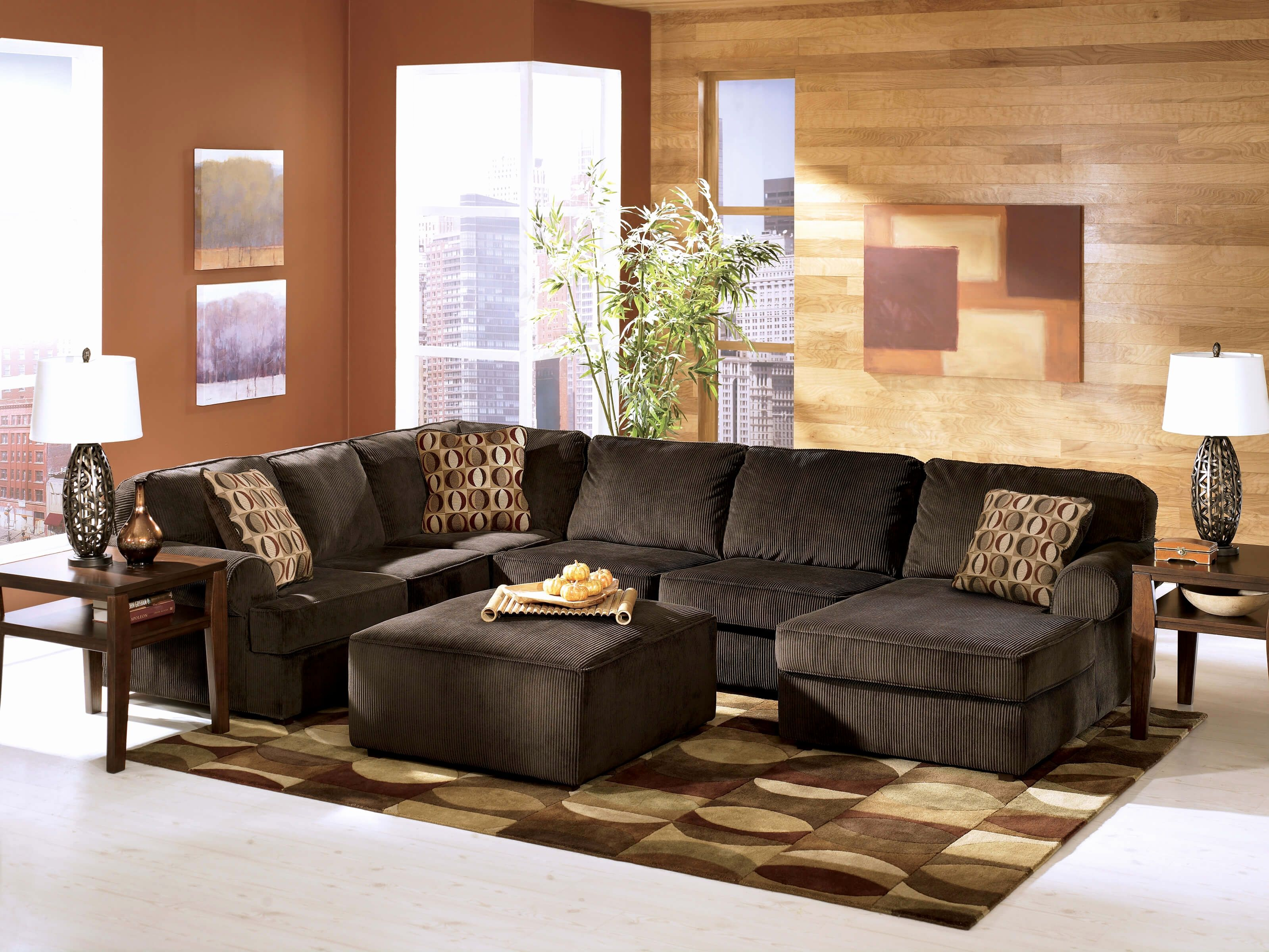 Elegant ashley Sectional sofas Pics vista chocolate ashley