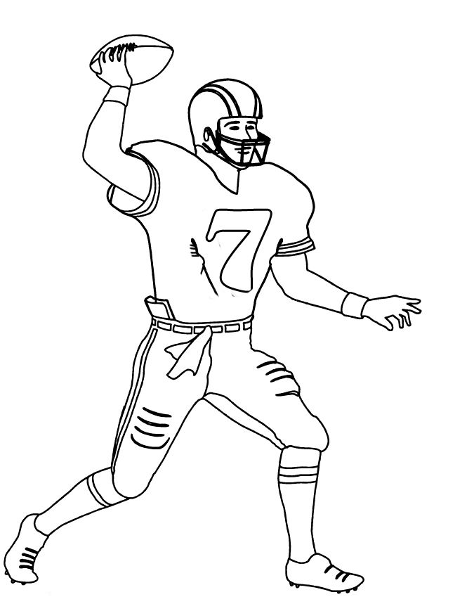 Nfl Football Player Number 7 Coloring For Kids Football Coloring