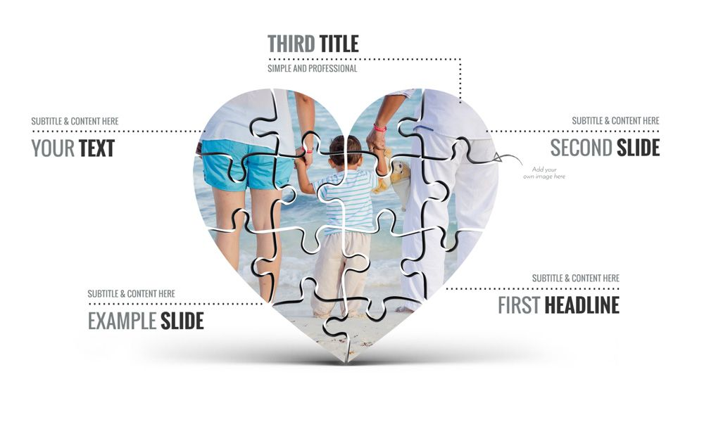3d jigsaw puzzle shaped heart prezi presentation template