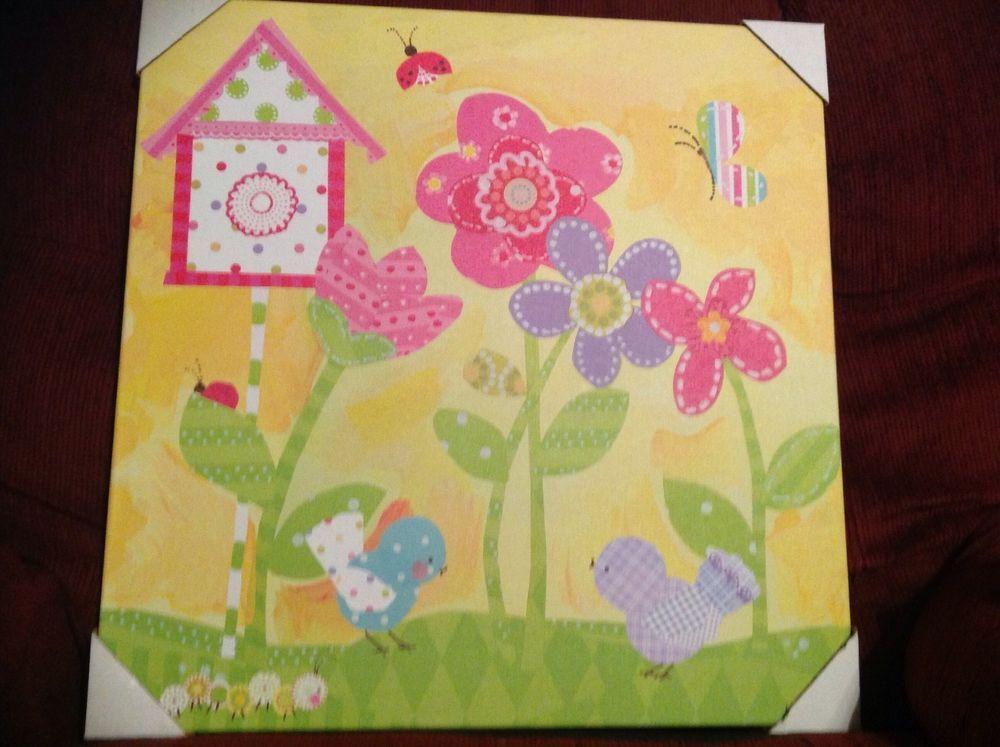 CIRCO CANVAS HAPPY FLOWERS WALL ART OOPSY DAISY SUNSHINE YELLOW BUGS ...