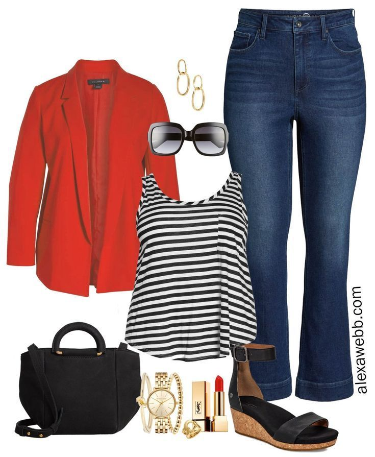 Plus Size Red Blazer Outfit - Alexa Webb #trendyspringoutfits