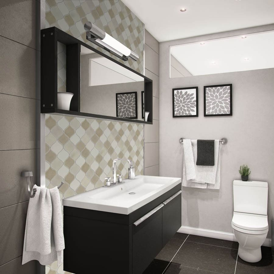 Neutral Lantern Style Wall Tiles Strike A Balanced Aesthetic Of Modern And Natural