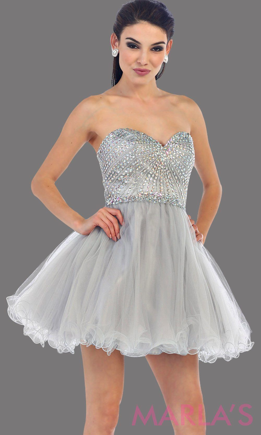 70d46522bee Short puffy gray strapless dress with a beaded bodice. It has a corset  bodice with tone on tone beading. This is perfect for grade 8 graduation