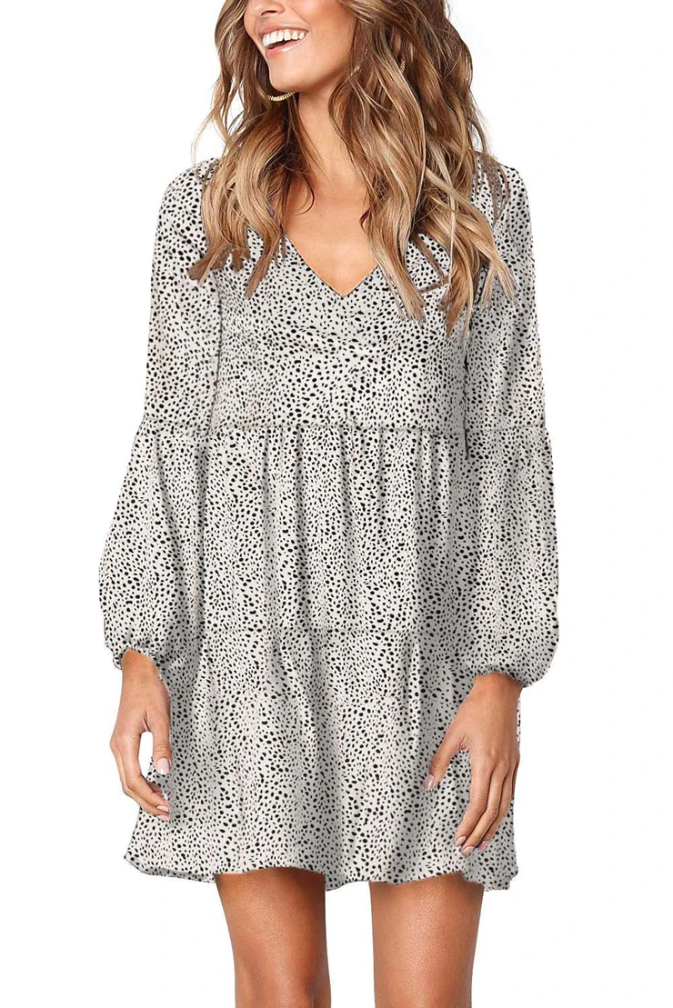 White Leopard Ruffle Long Sleeve Tunic Dress Casual Tunic Dress Shift Swing Dress Summer Tunic Dress [ 1109 x 740 Pixel ]