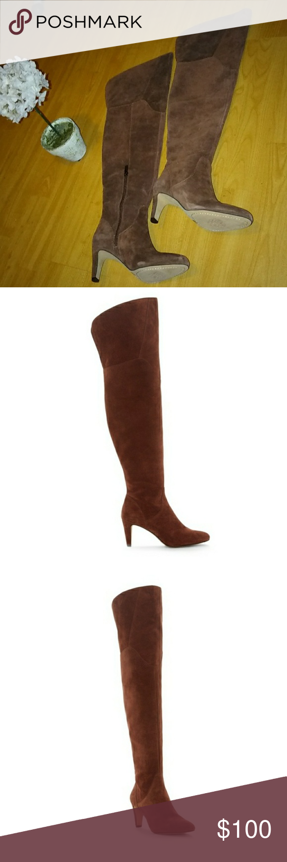 6c75cf83831 Vince Camuto armaceli over the knee boots NWT size 6M Vince Camuto Armaceli  Chocolate truffle color. Swathed in suede with a thigh-high shaft
