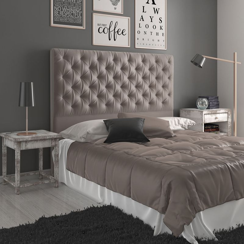 Leroy King Polyester Fabric Bed Headboard in