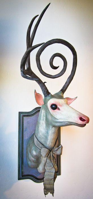 Faux taxidermy mounted head by Valency Genis #HuntingTrophy #deer #reindeer #cerf #cervo #antlers #art - Carefully selected by GORGONIA www.gorgonia.it