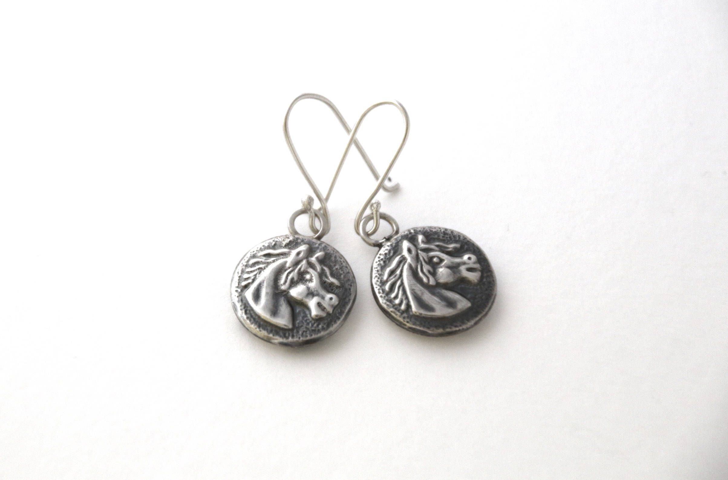 Horse Earrings Sterling Silver Horses Lover Gift Equestrian Animal Jewellery
