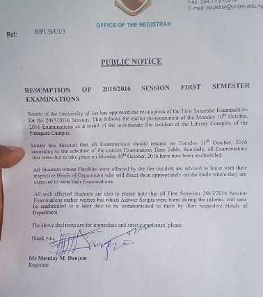 Management of the University of Jos, Plateau state have
