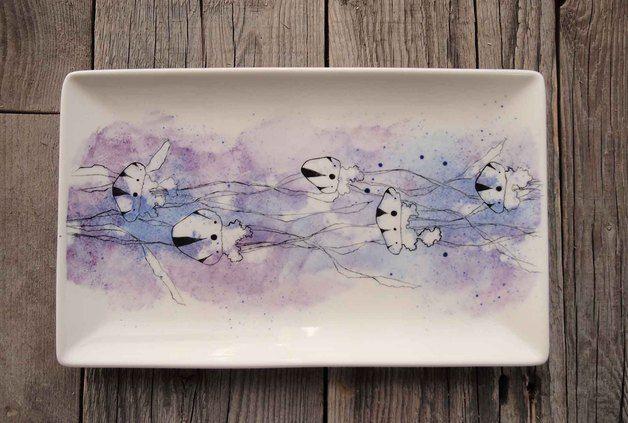 Bandejas - Bandeja con medusas - hecho a mano por altercrea en DaWanda