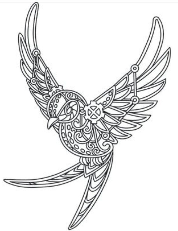 steampunk bird | animals | Pinterest | Mandalas, Bordado y Patrones