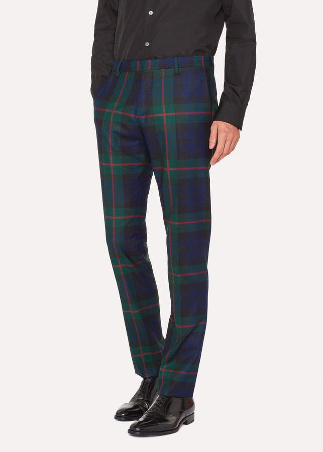 6111e2ae0ba271 Paul Smith Men's Slim-Fit Navy, Green And Red Tartan Wool Pants ...