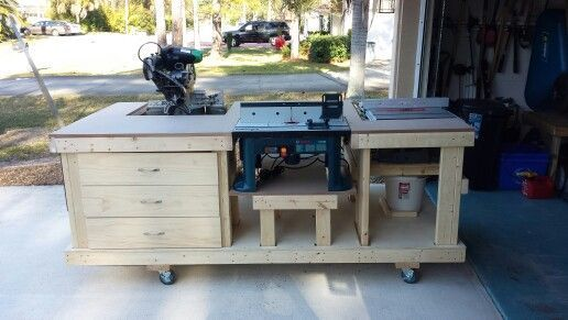 Workbench Including Table Saw Miter Saw Router 3 Drawers And Shelves Still Plan To Add Dust Collec Woodworking Plans Workbench Garage Work Bench Workbench