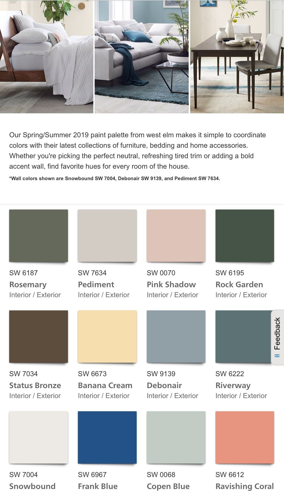 Sherwin Williams West Elm Collection 2019 Wall colors