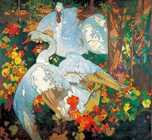 Swans Frank Brangwyn oil painting