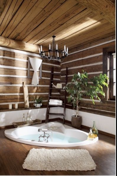 Rustic Cabin Bathroom Jacuzzi Tub