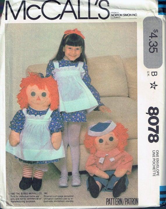 Raggedy Ann /& Andy Soft Cloth Dolls ~ a Vintage Pattern