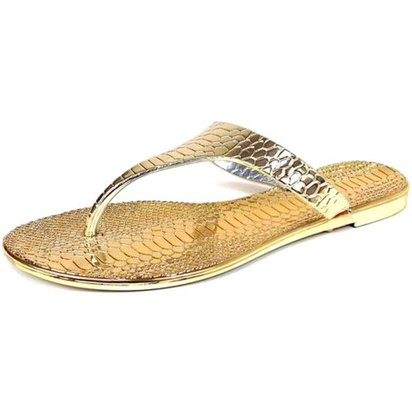 Gold Croc Jelly Flip Flops Sandals (£7) ❤ liked on Polyvore