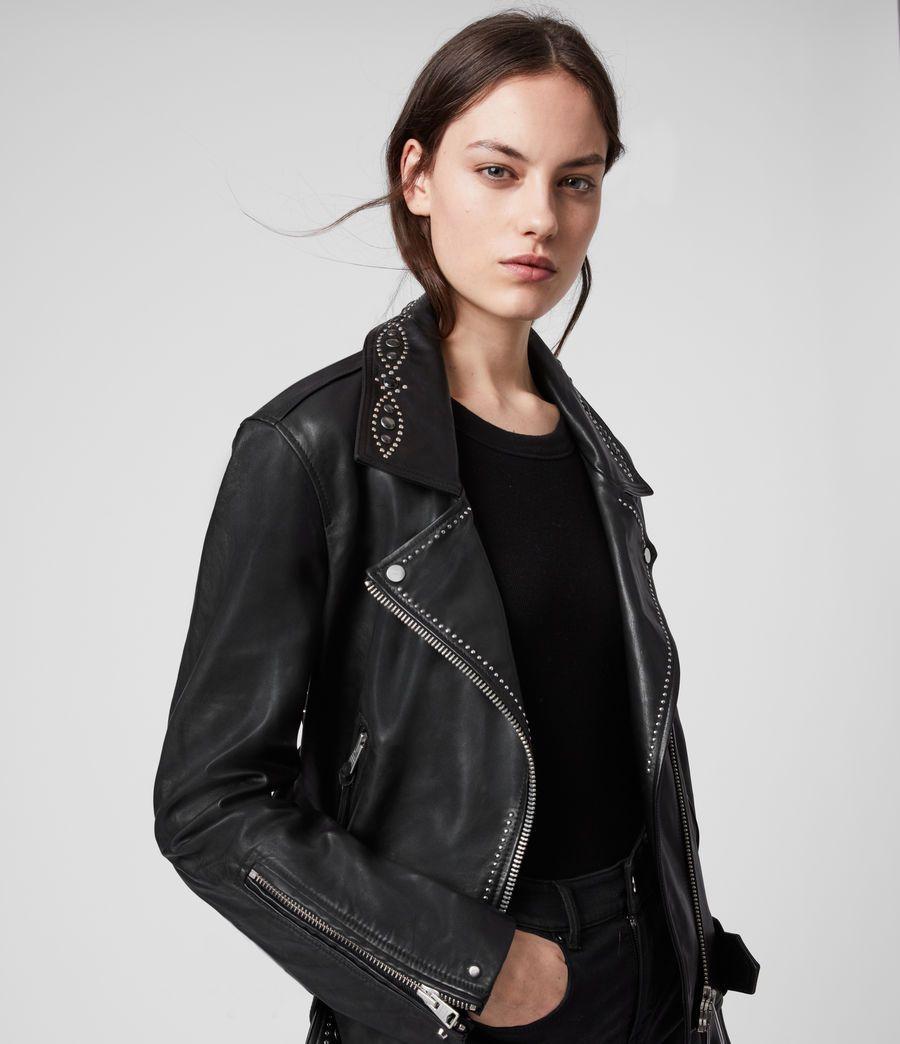 Allsaints Us Womens Luna Studded Leather Biker Jacket Black Leather Jackets Women Leather Jacket Leather Jacket Hoodie [ 1044 x 900 Pixel ]