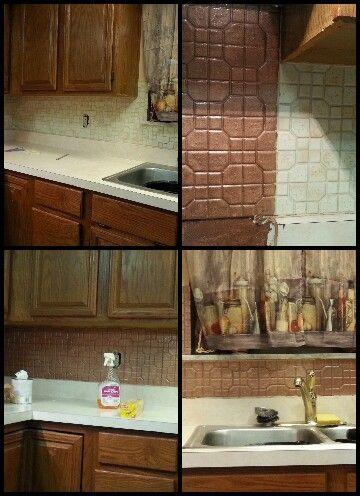 Rustoleum hammered copper paint over ceramic tile Painting ceramic tile backsplash