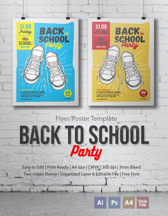 Back to School Party Flyer/Poster | School parties, Party flyer and ...