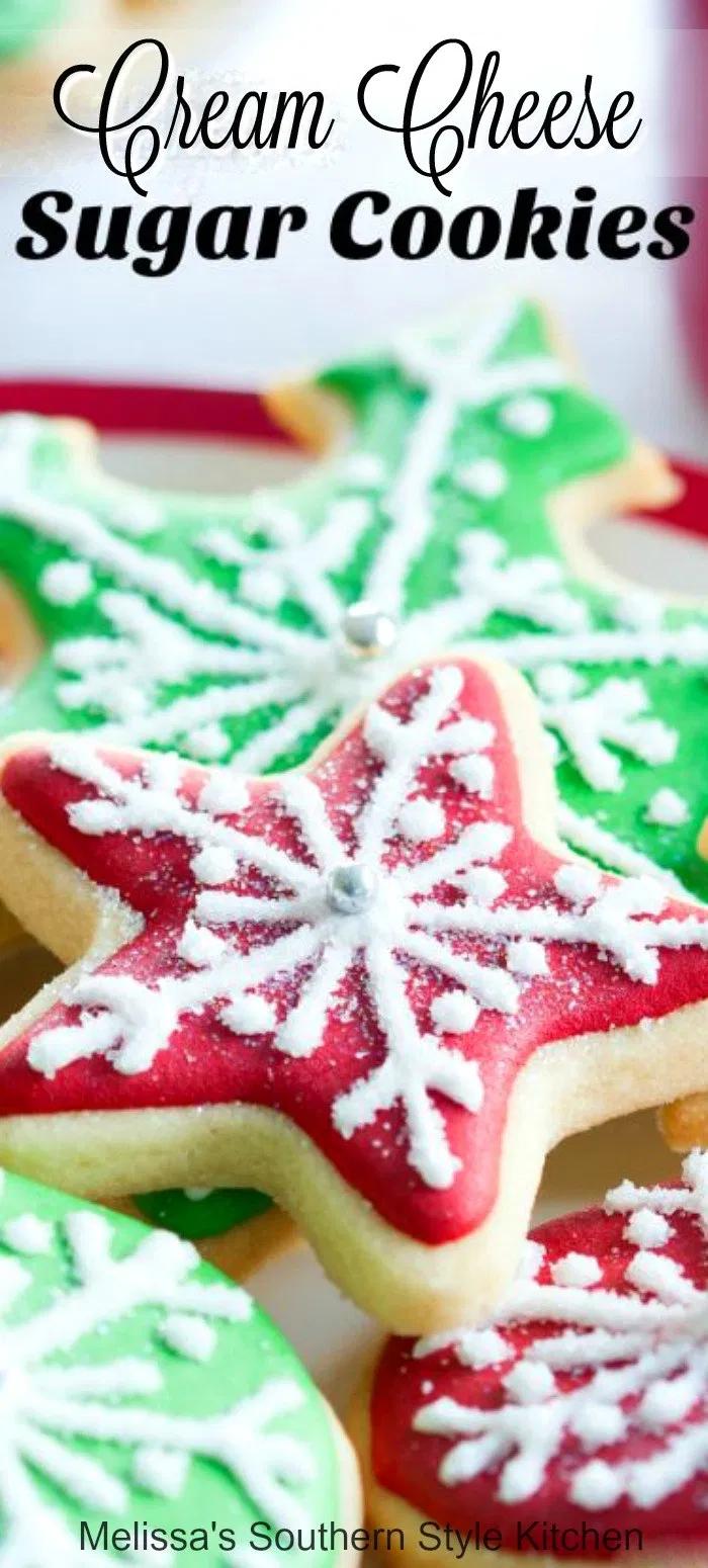 Cutout Cream Cheese Sugar Cookies #christmascookies #sugarcookies #bestsugarcookies #creamcheesecookies #cookierecipes #holidayrecipes #holidaybaking #creamcheesecookies #holidays #cookieswap #desserts #dessertfoodrecipes #southernrecipes #southernfood #melissassouthernstylekitchen