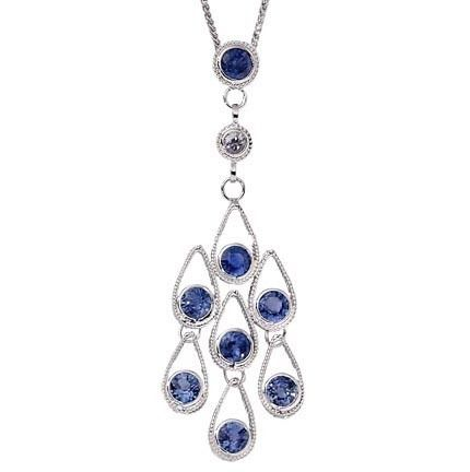 18K White Gold White/Blue Sapphires Pendant from Goldsmith Jewelers.