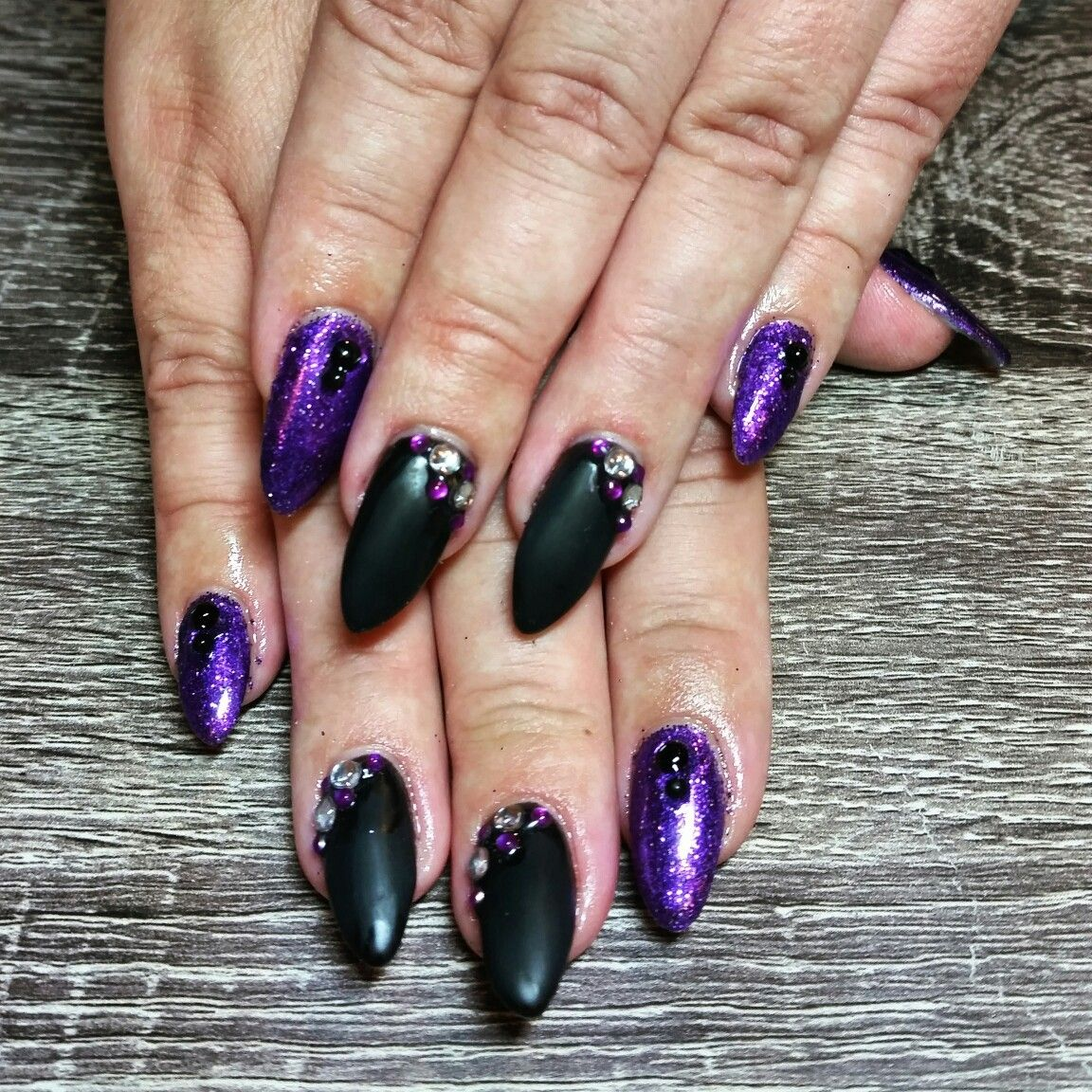 Purple Black And Bling Nails Sparkle With Almond Gel Matte Rhinestones Dark