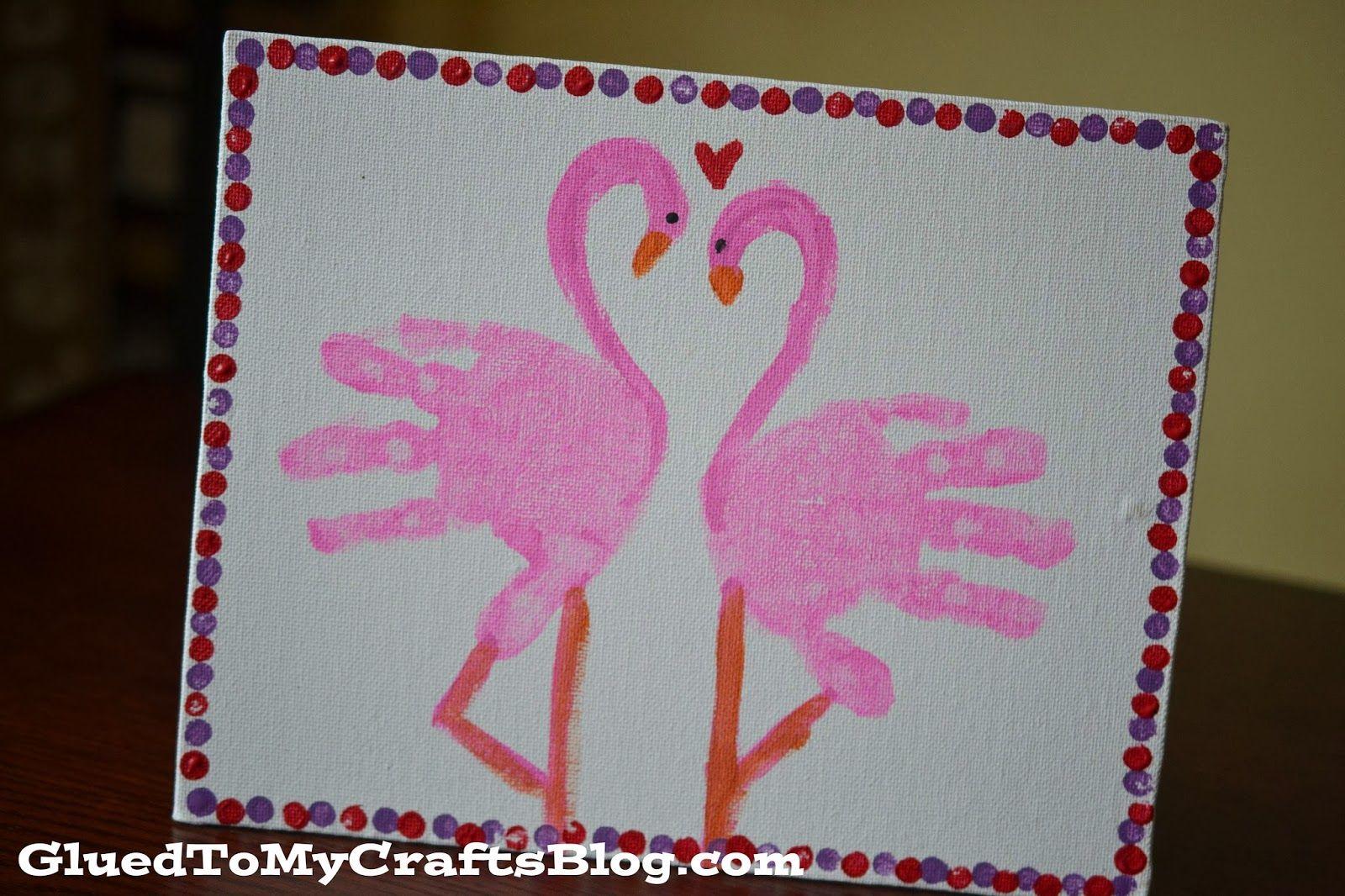 Handprint Flamingo Kid Canvas Craft