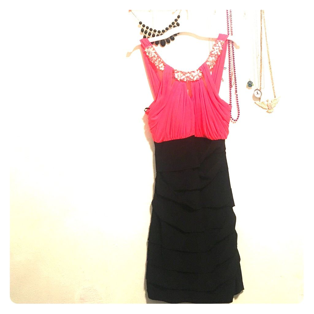 Pink And Black Homecoming Dress