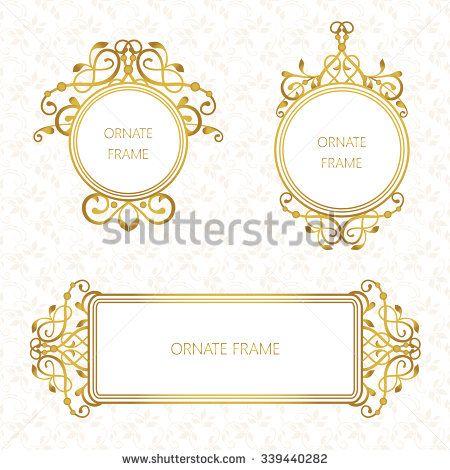 vector set decorative frame elegant gold element for design Wedding Card Frame Border Vector vector set decorative frame elegant gold element for design template, place for text wedding card frame border vector
