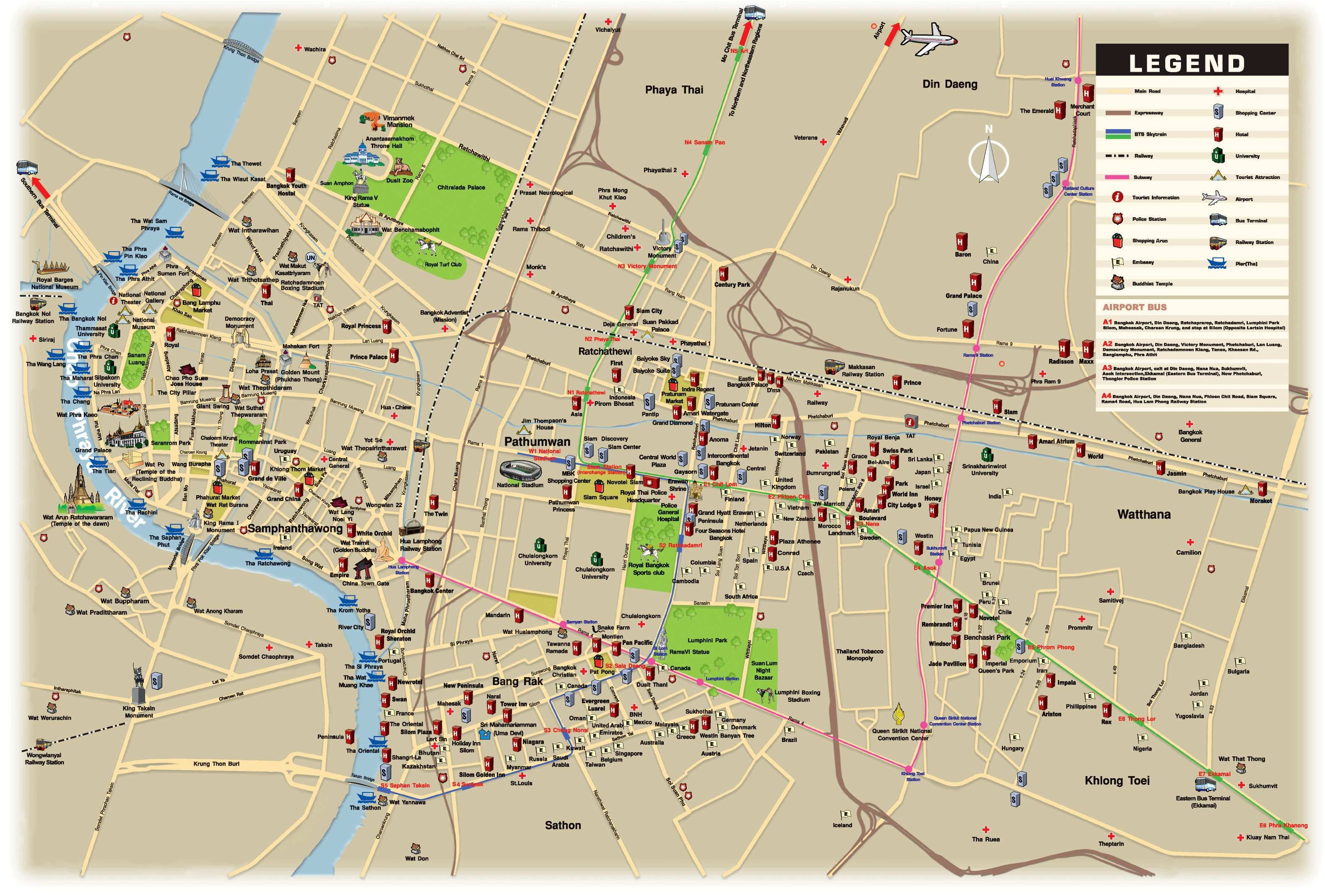 Carte Bangkok Routes Metro Informations Hopitaux Hotel Aeroport Tranports Jpg 3160 2137 Thailand Reisen Thailand Reisen