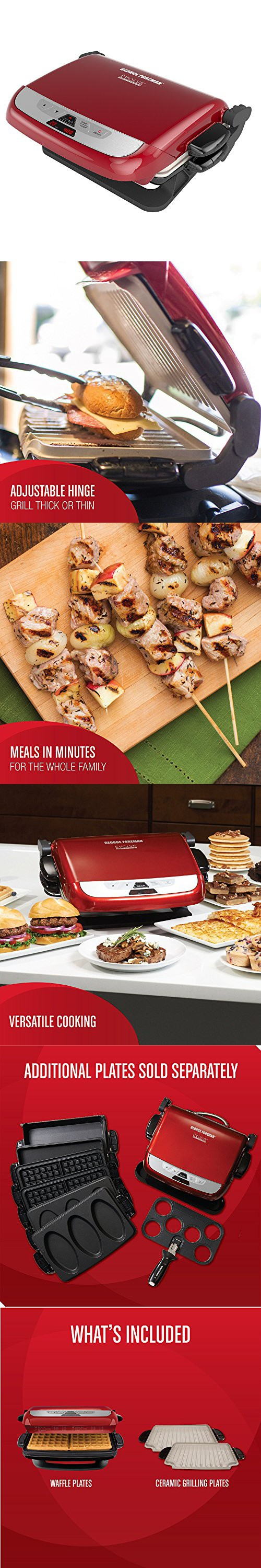 George Foreman Multi-Plate Evolve Grill (Ceramic Grilling Plates Deep-Dish Bake Pan and Muffin Pan Included) Red & George Foreman GRP4842RB Multi-Plate Evolve Grill (Panini Press ...