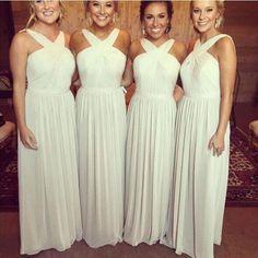 Criss-cross Neckline Prom Dress,Charming Chiffon Bridesmaid Dress,Long Cream color Bridesmaid Dress,Wedding Party Dress,Elegant Sleeveless Bridesmaid Dress for 2017
