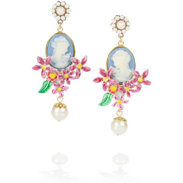 Dolce   Gabbana Gold-plated glass pearl cameo clip earrings ( 695) ❤ liked 2d1b67430de