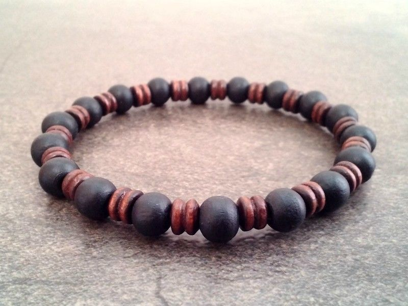 Men S Beaded Bracelet Wooden Beads Wristband Shamballa Gift