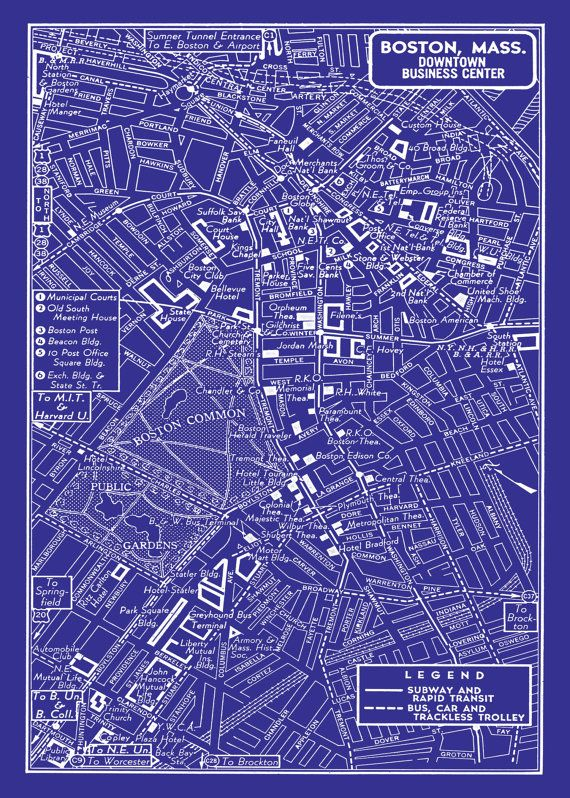 1949 vintage map of downtown boston blueprint map print poster 1949 vintage map of downtown boston blueprint map print poster malvernweather Choice Image