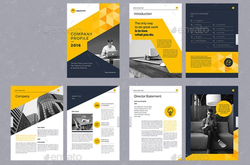 Company Profile Corporate Brochure Tema Warna Kuning Hitam Indesign Brosur Perusahaan Desain Profil Perusahaan Brosur