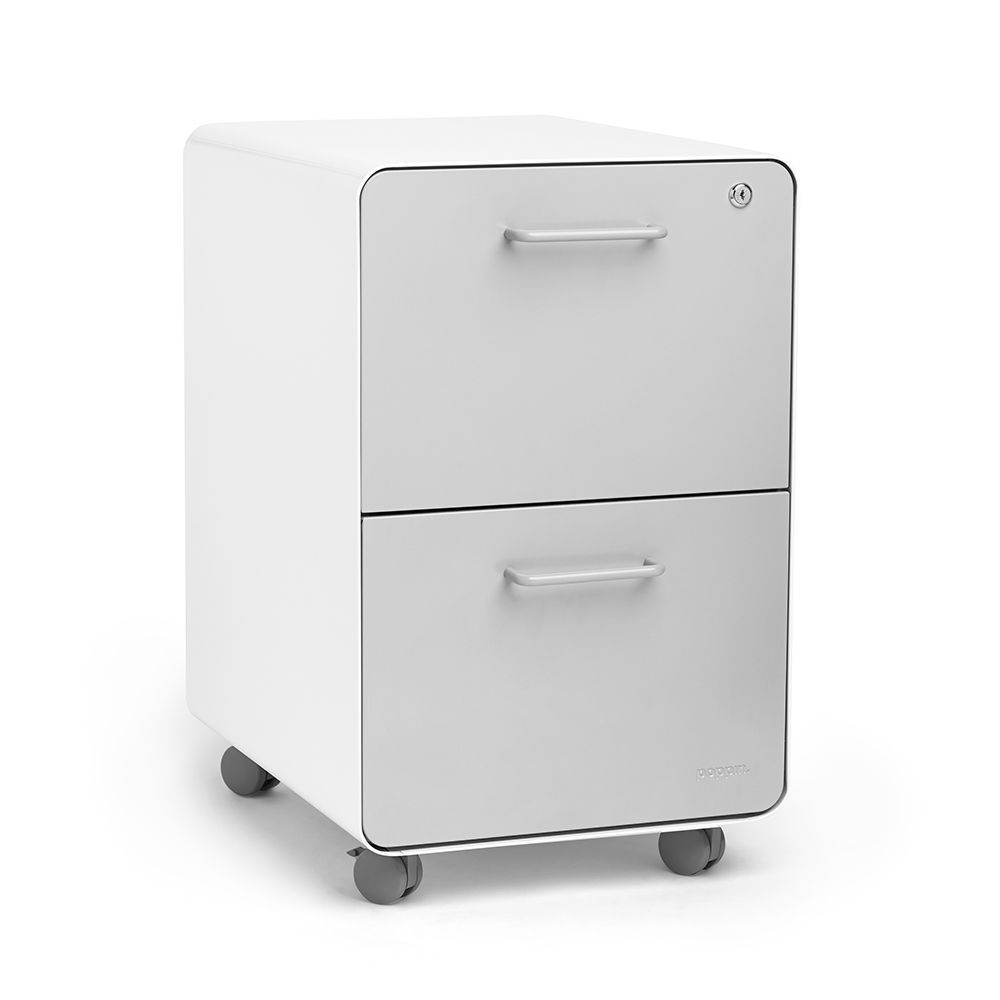 white + light gray stow 2-drawer rolling file cabinet | poppin