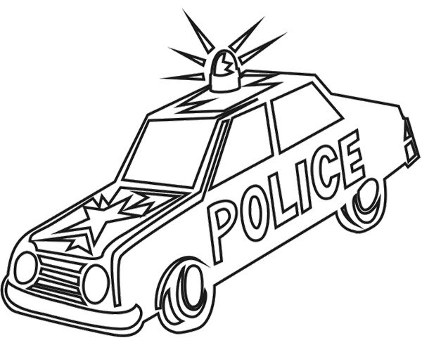 Old Car Police Coloring Page