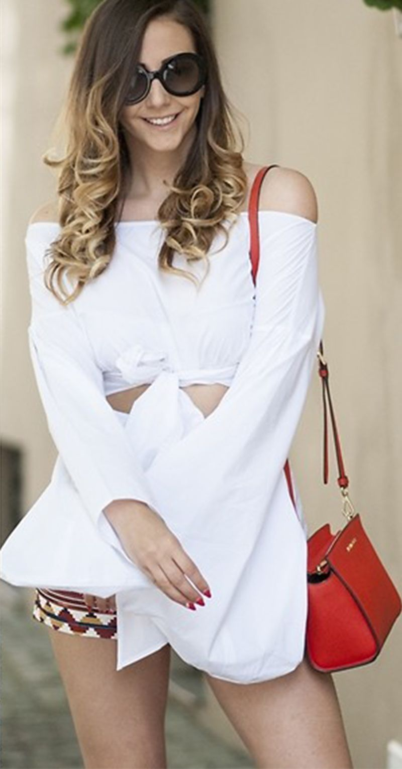 a1cf6cb72289f White Puff Sleeve Off-the-shoulder Self-tie Front Blouse. Find something  more different from shein.com.